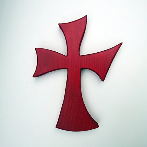 Wood cross wall hanging blood red