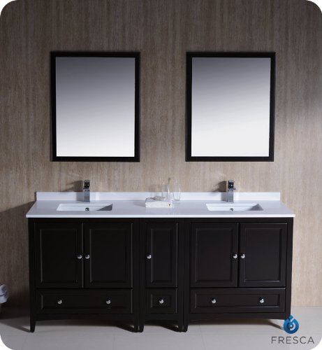 "Oxford 72"" Traditional Double Sink Bathroom Vanity Set Finish: Espresso front-747348"