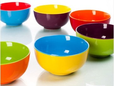 6-Piece Dual Colored Bowl Set
