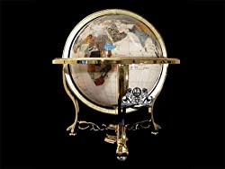 """21"""" Mother of Pearl Gemstone Globe with Gold Stand"""