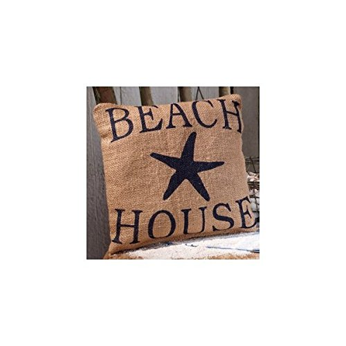 Small Burlap Beach House Pillow (Beach House Pillows compare prices)