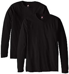 Hanes Men\'s Long Sleeve Nano Cotton Premium T-Shirt Pack of 2, Black, X-Large