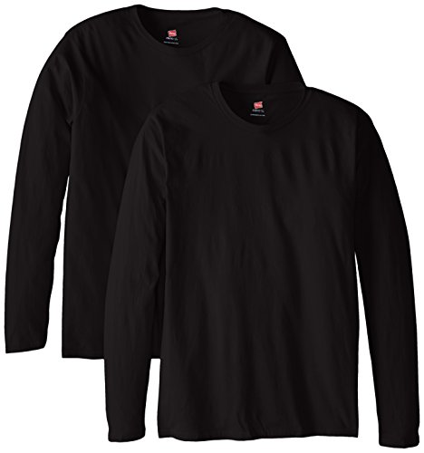 hanes-mens-long-sleeve-nano-cotton-premium-t-shirt-pack-of-2-black-large
