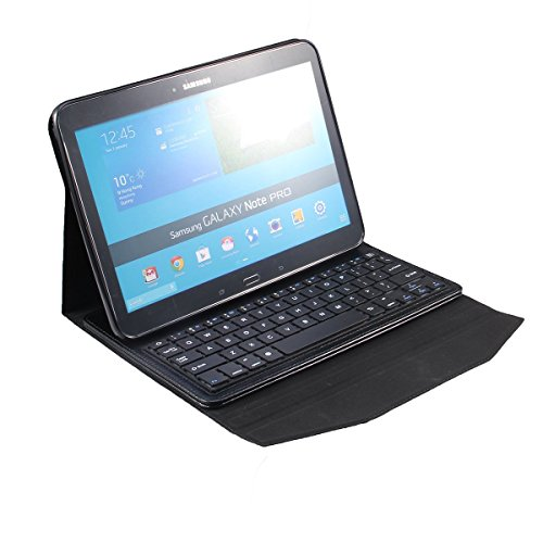 Newstyle Samsung Galaxy Tab Pro 12.2 Inch & Samsung Galaxy Note Pro 12.2 Inch Tablet Portfolio Case With Wireless Removable Bluetooth Abs Hard Keys Keyboard For Galaxy Tabpro 12.2 & Galaxy Notepro 12.2 P900 - Black Color