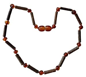 Umai Authentic Hazelwood and COGNAC Baltic Amber Teething Necklace