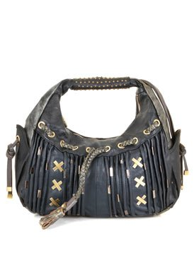 Blue Faux Leather Shoulder Bag: Blue Shoulder Bag
