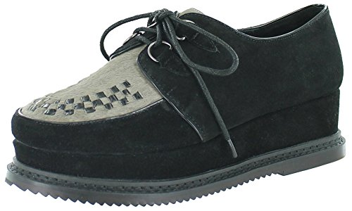 Very Volatile Detour Women'S Lace-Up Flatform Creepers Black Size 7 front-1027145