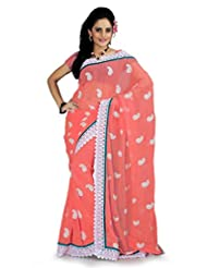 Designersareez Women Faux Georgette Embroidered Coral Pink Saree With Unstitched Blouse(879)
