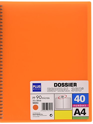 plus-office-13461-40-or-carpeta-con-40-fundas-y-espiral-a4-color-naranja