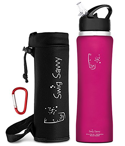 Swig Savvy's Stainless Steel Insulated Water Bottle, Wide Mouth 25 Oz Capacity, Double Wall Design,with flip straw and sweat-proof rubber coating -Including Water Bottle Pouch (Red) (Beer Savvy compare prices)