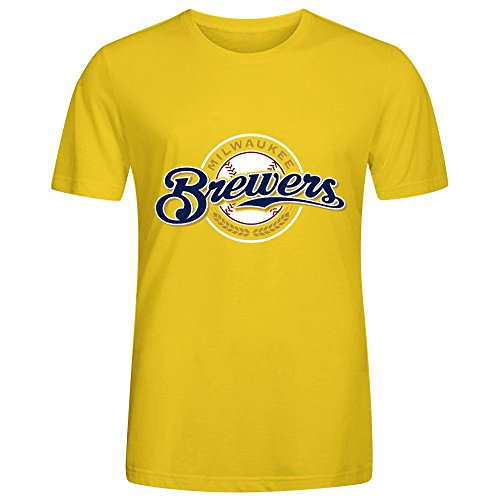 MLB Milwaukee Brewers Team Logo Crew Neck Graphic T Shirts For Men Yellow (Milwaukee Brewers Cycling compare prices)