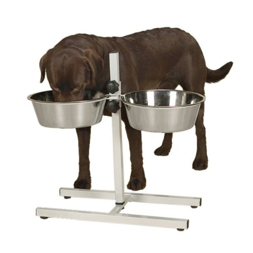 Proselect Stainless Steel Adjustable Dog Diner Bowl, 2-Quart, White front-584154