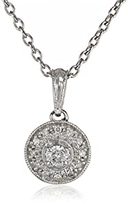 Women's Sterling Silver Round Diamond Frame Pendant Necklace (1/10 cttw, I-J Color, I2 Clarity) 18""