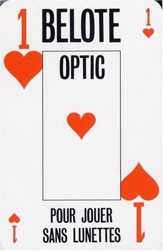 Jeu belote optic. 1 jeu de 32 cartes. gros index. boite cristal