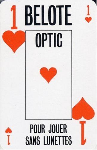 Jeu belote optic. 1 jeu de 32 cartes. gros index. boite cristal