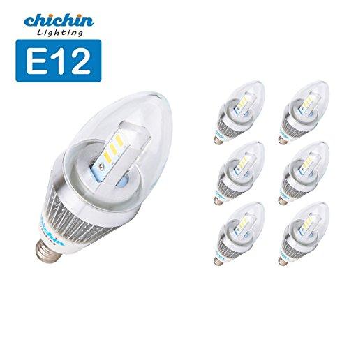 Chichinlighting® 6-Pack Dimmable E12 5W Led Light Bulb Lamp Candelabra Bulb Chandelier Light Candle Bulb Natural Daylight White 4000-4500K Bullet Top
