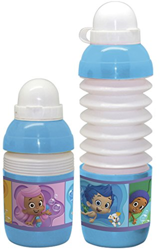 Sharkskinzz Licensed 18Oz Pop Up Water Bottle - Reusable & Portable. Take Along To School, Travel, Sports Events, Gym, & Tailgate Parties. Great Gift & Party Favor. Set Of 4 Bottles. (Bubble Guppies)