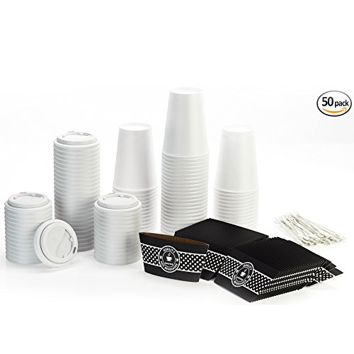 Disposable Coffee Cups with Lids and Sleeves and Stirrers (50 pack) - 12 oz Hot Paper Cups alternative to Travel Mugs - Recyclable Cups and Accessories perfect for Hot Cold Drinks (White, 12oz) (Disposable Hot Beverage Dispenser compare prices)