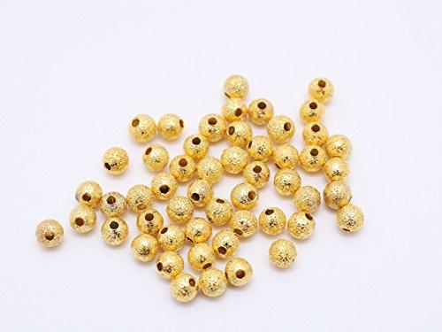紗や工房 メタルビーズ スターダスト(約4mm)約50個 ゴールド 丸玉 ラウンド 金属ビーズ ヒキモノ メタルパーツ アクセサリーパーツ 手芸材料