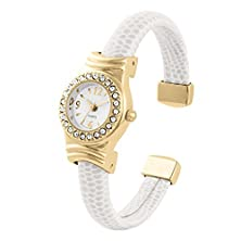 buy Beautiful White Leather Wrapped Ladies Mini Bangle/Cuff Watch With Cubic Zirconia Bezel And Gold Plated Case