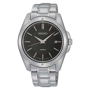 Seiko Black Dial Stainless Steel Mens Watch SGEF81