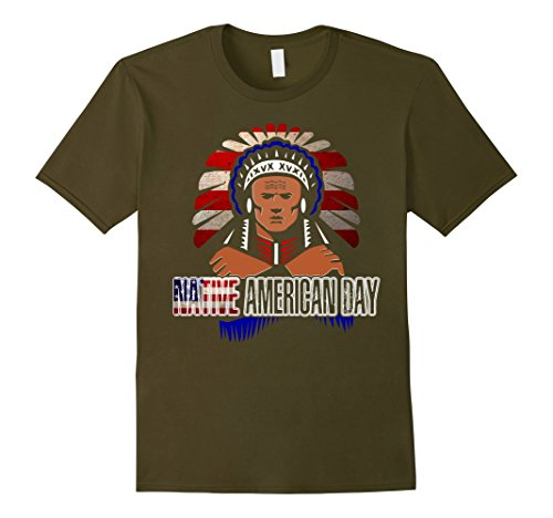[Men's Native American Day T Shirts Indian Chief Tee  Small Olive] (Male Indian Chief Costume)