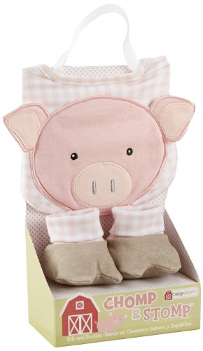 Baby Aspen Chomp and Stomp Bib and Booties Gift Set, Pig - 1