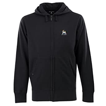 MLB Mens Miami Marlins Full Zip Signature Hood by Antigua
