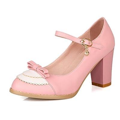 Balamasa Womens Buckle Kitten Heels Assorted Colors Pumps Shoes