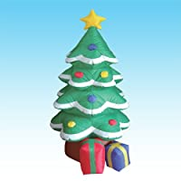 6 Foot Lighted Christmas Inflatable Tree + Star + Gift Boxes Party Decoration