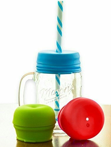 O-Sip! Silicone Straw Lids (Pack of 3), Fits Virtually any Cup or Glass Including Mason Jars, Makes Kids Drinks Spillproof, Reusable, Durable (7 Ounce Glass Jar compare prices)
