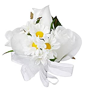 .com: Daisy Rose Silk Corsage - Wedding Corsage Prom: Home & Kitchen