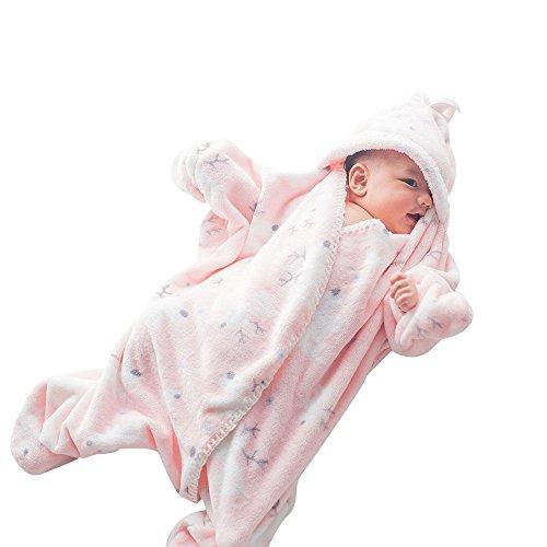 GreForest-stella marina carino infantile sacco a pelo flanella bambino Swaddle infante appena nato SleepSack Wearable Swaddle Coperta anti-calci Quilt (colore rosa) G