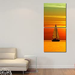 Multiple Frames Printed Boat in River Wall Art Painting -2 Frames (76x25 cm)