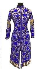 Khazanakart fashion blue cotton embroidered partywear designer dress materials for women