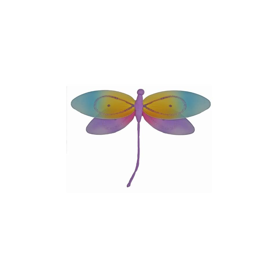 Hanging Dragonfly Purple Rainbow Nylon Dragonflies Decorations   Decorate for a Baby Nursery Bedroom, Girls Room Ceiling Wall Decor, Wedding Birthday Party, Bridal Baby Shower, Bathroom. Kids Childrens Dragonfly Decoration 3D Art Craft