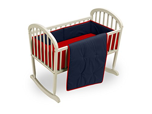 Baby Doll Reversible Cradle Bedding, Navy/Red
