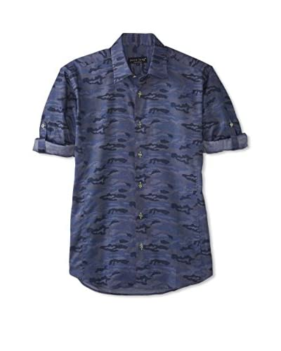 Jared Lang Men's Patterned Sport Shirt with Roll-Up Sleeves