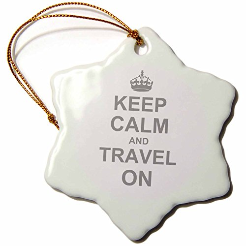 3dRose orn_157782_1 Keep Calm and Travel on Carry on Globe Traveling World Traveler Gifts Humor Porcelain Snowflake Ornament, 3-Inch