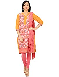 Rama Suit Set Of Floral Printed Orange Pink Color Cotton Kurti With Legging And Duppatta