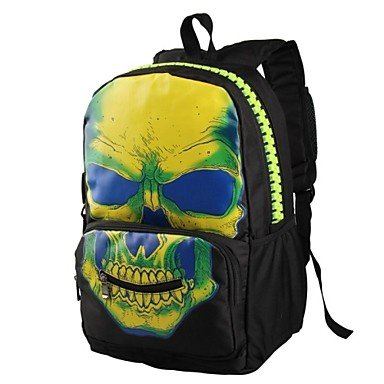 Zcl Unisex'S Europe Style Nylon Skull Printing Backpack , White+Black