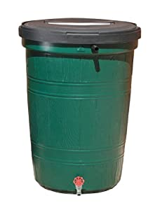 RTS Home Accents 53-Gallon Recycled Plastic Rain Collector, Green