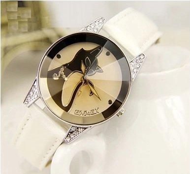 Black elegant face fashionable Watch (white belt)