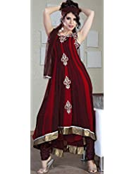 Utsav Fashion Women's Maroon And Burgundy Readymade Anarkali Faux Georgette Churidar Kameez -Large