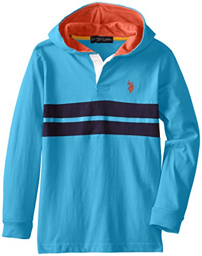 U.S. Polo Assn. Big Boys' Cut And Sew Chest Stirpe Hoodie, Teal Blue, 14/16