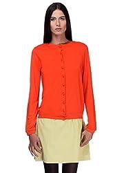 KAARYAH - Orange Full Sleeves Relaxed Fit Cardigan