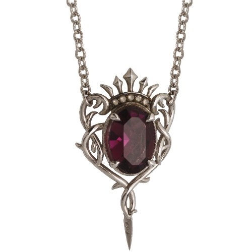 Sterling Silver Clear and Amethyst Colored Crystal Necklace, 18