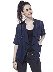 Besiva Women'S Navy Blue Waterfall Cardigan