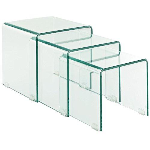 Lexmod Cascade Glass Nesting Table Set (3 Piece)