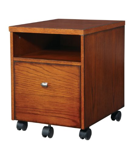 Office Star Aurora Mobile File Cabinet in Medium Oak Finish and Black Accents (Solid Oak File Cabinet compare prices)